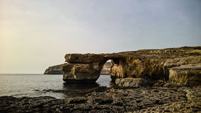 Sea view to Azure window natural arch, now vanished, Gozo island, Malta. Sea view to Azure window natural arch, now vanished, Gozo island Malta Stock Photography