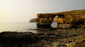 Sea view to Azure window natural arch, now vanished, Gozo island, Malta Stock Photo
