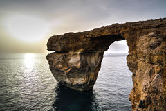 Sea view to Azure window natural arch, now vanished, Gozo island, Malta. Sea view to Azure window natural arch, now vanished, Gozo island Malta Stock Images