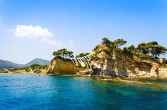 Sea view to Cameo island. Zakynthos, Greece. Summer time vacation stock photo