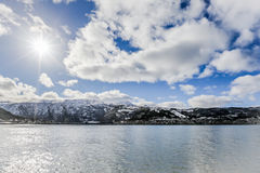 Sea view to city of Tromso , Norway Royalty Free Stock Photography