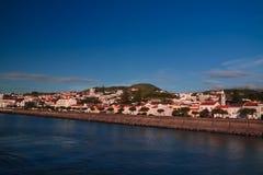 Sea view to Horta marina and city, Faial island, Azores, Portugal Royalty Free Stock Photo