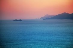 Sea view to island Capri royalty free stock images