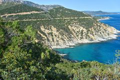 Sea View from the top of a hill. Landscape mediterranean sea view, blue sky and turquoise sea Stock Photography