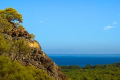 Sea view from top of rocky hill near Kemer, Turkey Royalty Free Stock Image