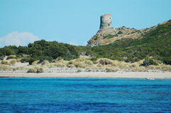 Sea view and tour d'Agnello, Corsica. Sea view and tour d'Agnello, Cap Corse, Corsica Royalty Free Stock Images