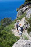 Sea view Tramuntana mountains Mallorca. MALLORCA, SPAIN - MAY 15, 2017: People on walking path in landscape in Tramuntana mountains between Soller and Cala Tuent Stock Photo
