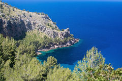 Sea view Tramuntana mountains Mallorca. Walking path nature landscape sea view in Tramuntana mountains between Soller and Cala Tuent, Mallorca, Spain Royalty Free Stock Image