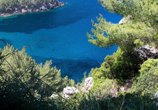 Sea view Tramuntana mountains Mallorca. Walking path nature landscape sea view in Tramuntana mountains between Soller and Cala Tuent, Mallorca, Spain Stock Photo