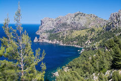 Sea view Tramuntana mountains Mallorca. Walking path nature landscape sea view in Tramuntana mountains between Soller and Cala Tuent, Mallorca, Spain Royalty Free Stock Photos