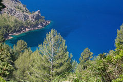 Sea view Tramuntana mountains Mallorca. Walking path nature landscape sea view in Tramuntana mountains between Soller and Cala Tuent, Mallorca, Spain Royalty Free Stock Images