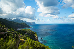 Sea view from Tramuntana road, Mallorca, Spain. Sea view from Tramuntana road, Palma de Mallorca, Spain Royalty Free Stock Images