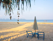 Sea view in tropical with sunbed and umbrella Royalty Free Stock Photo