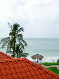 Sea view typical roof material corn island nicara royalty free stock photos