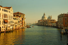 Sea view on Venice grand channel at the morning with historical architecture and basilica della salute in Italy Royalty Free Stock Photos