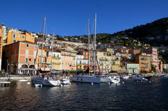 Sea view at Villefranche Sur Meer harbour at french riviera Royalty Free Stock Photos