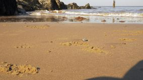 Sea view waves beating coast rocks close up shot. Yellow sand. stock footage