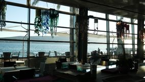 Sea view from the window of a cafe. stock video footage