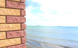 Sea viewed through window of stone wall. Black sea behind the column royalty free stock photography