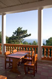Sea views from the cafe. A table for visitors in the veranda cafe Royalty Free Stock Photo