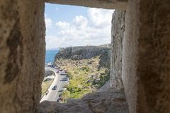 Sea views from the loopholes. The fortress of Fortezza Royalty Free Stock Photography