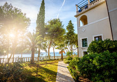 Sea Villa with garden. Mansion at sea resort at Adriatic sea Stock Photos