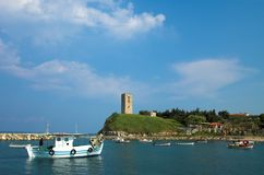 Sea village. Nea Fokea, Halkidiki, Greece Royalty Free Stock Photos