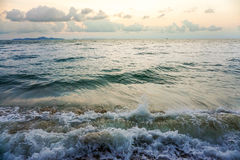 Sea, vintage a photo and wave soft pastel colors. Solf focus. Royalty Free Stock Photo