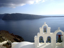 Sea volcano church Greese. Santorini volcano and church view Greese Royalty Free Stock Image