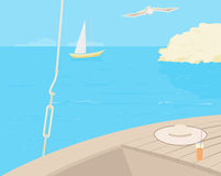 Sea voyage. Background to the boat and the sea. Sea voyage royalty free illustration