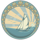 Sea voyage. Retro style sea voyage vector design - sailing yacht circle label Stock Image