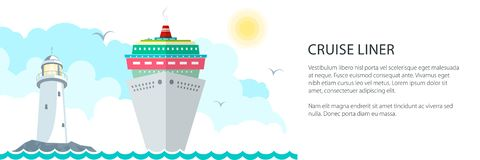 Sea Voyage Banner. Marine Tourism, Cruise Ship and Lighthouse at the Ocean and Text ,Travel Concept, Vector Illustration vector illustration