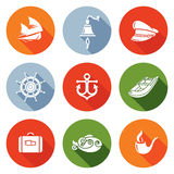 Sea voyage, the captain Icons Set. Vector Illustration. Stock Photography
