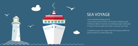 Sea Voyage ,Travel Banner. Sea Voyage ,Marine Tourism, Cruise Ship and Lighthouse at the Ocean and Text ,Travel Banner, Vector Illustration vector illustration