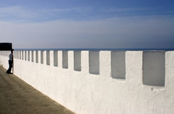 Sea Wall in Asilah Morocco royalty free stock photography