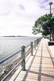 Sea wall at Auckland Harbour. Westhaven Marina sea wall at Auckland Waitemata Harbour, New Zealand, NZ. Filtered image Royalty Free Stock Photography