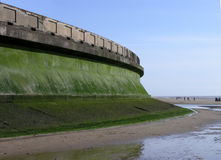 Sea wall defence. Concrete sea wall defence in Blackpool England Royalty Free Stock Photo