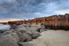 Sea Wall Rocky Coast Storm Clouds Folly Beach South Carolina Stock Image