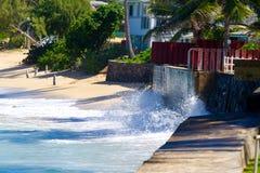 Sea Wall Storm Break Stock Photo