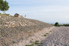 Sea wall of Urk, a Dutch fishing village Royalty Free Stock Photo