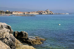 Sea and walled town of Antibes in France Royalty Free Stock Image