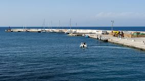Ventotene port. The sea and the walls of the marina of ventotene, - Pontine Islands royalty free stock images