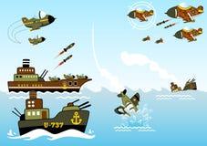 Sea war. Vector cartoon illustration. EPS 10 Royalty Free Stock Image