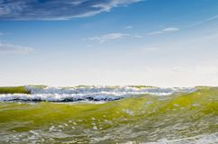 Sea water background and blue sky Stock Photography
