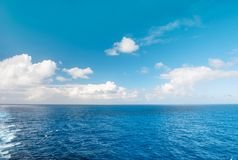 Sea water blue sky white clouds Nature landscape Royalty Free Stock Photo