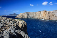 Sea water in Cala Domestica. Sea view from the mountains in Cala Domestica, a famous beach in Sardinia, Italy Royalty Free Stock Photography