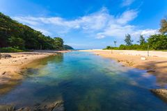 Sea water in canal from the sea flow down. The sea when low tide at Nai Harn beach Phuket stock photos