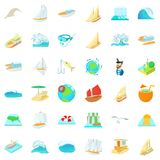 Sea water icons set, cartoon style. Sea water icons set. Cartoon set of 36 sea water vector icons for web isolated on white background royalty free illustration
