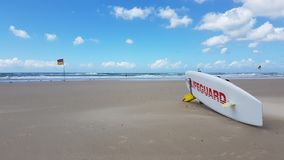 Lifeguard Surfboard at Gold Coast in Queensland Australia royalty free stock image