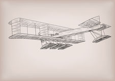 Sea water plane first construction graphic drawing in black line Stock Images